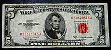 1953 B Series $5 US Note Red Seal