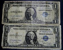 2X Silver Certificate $1 Notes 1935A , 35D