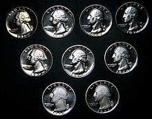 Lot of 9 Proof George Washington Quarters