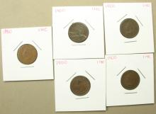 5 Indian Head cents, 1-Dated 1880, 4-Dated 1900