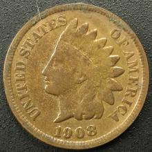 1908 Indian Head Cent, Partial LIBERTY