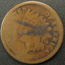 1872 Indian Head Cent, Scarce Date, Bold N
