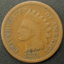 1874 Indian Head Cent, Nice Coin