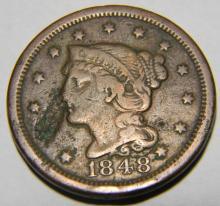 1848 Braided Hair Large Cent Lamination Error  EF Details