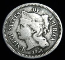 1868 3 Cent Nickel Liberty Head Reconstruction Era