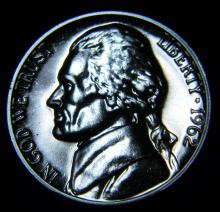 1962 Proof Jefferson Nickel, Great Blue Metal Toning