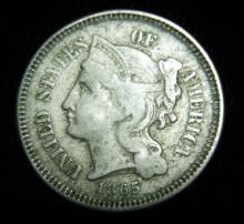 1865 3 Cent Nickel Liberty Head Civil War Year 1st Year