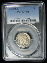 1918/7-D RARE Error Indian Head-Buffalo Nickel, PCGS G04