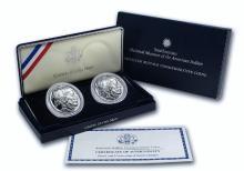 2001 P&D 2 Coin Native American Buffalo Commemoratives Silver Dollar Set