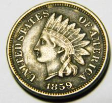 1859 Indian Head Cent, Full LIBERTY Copper-Nickel Cent, First Year of Issue