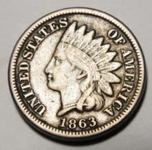 1863 CN - Civil War Year - Indian Head Cent Liberty Visible
