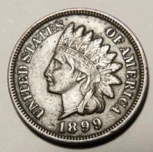 1899 Bronze Indian Head Cent  VF Details Full Liberty