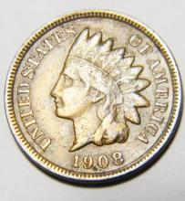 1908 S Indian Head Cent, Key Date, Fine / Very Fine  Details