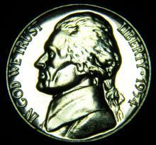 1954 Proof Jefferson Nickel. Deep Cameo