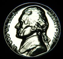 1958 Proof Jefferson Nickel. Deep Cameo