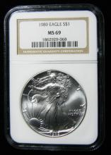 1989 NGC MS 69, American Silver Eagle, Holder in a Intercept Protector