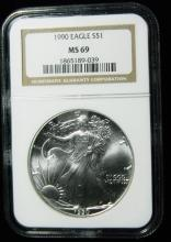 1990 NGC MS 69, American Silver Eagle, Holder in a Intercept Protector