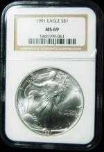 1991 NGC MS 69, American Silver Eagle, Holder in a Intercept Protector