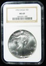 1992 NGC MS 69, American Silver Eagle, Holder in a Intercept Protector