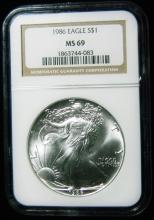 1986 NGC MS 69, American Silver Eagle, Holder in a Intercept Protector