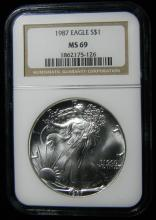 1987 NGC MS 69, American Silver Eagle, Holder in a Intercept Protector