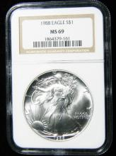 1988 NGC MS 69, American Silver Eagle, Holder in a Intercept Protector