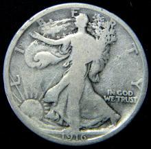 1916 Walking Liberty Half Dollar  -First Year- Scarce Date