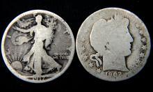 Group lot of 2: 1917 Walking Liberty Half & 1902 O Barber Half