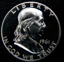 1961 Proof Ben Franklin Half Dollar