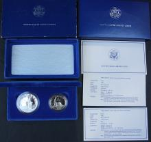 1986 S Proof Statue Liberty. 2 Coins Silver Dollar & Half Set