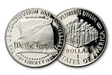 1987 S Proof U.S Constitution Bicentennial Silver Dollar
