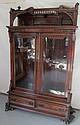 C1870 Burled walnut Eastlake Victorian bookcase