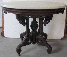 19th C. Burled walnut marble top center table