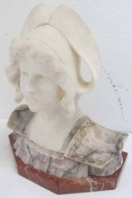 19th C. Marble bust of woman