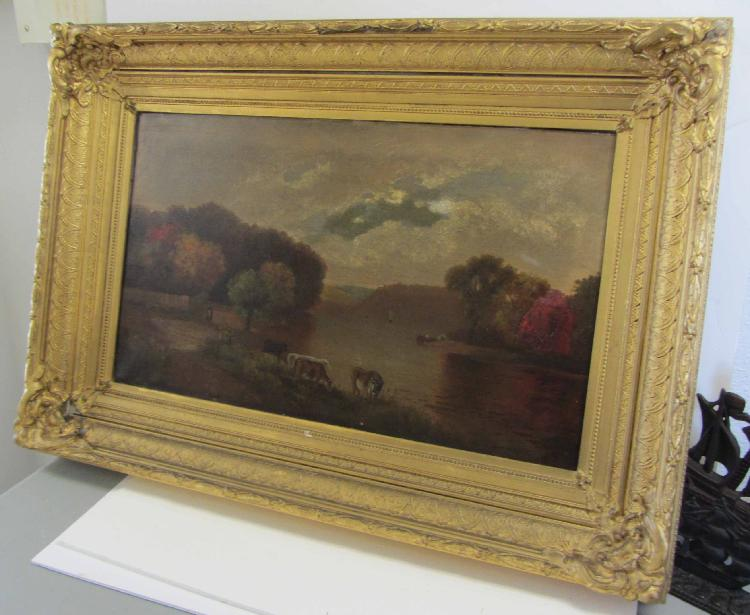 19th C. Hudson Valley oil painting with cows
