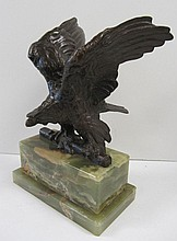 Early 20th C. Bronze eagle on onyx base