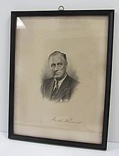 Framed etching of Franklin Delano Roosevelt