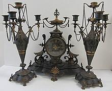 Rare Bronze Renaissance Am. 3 piece clock set