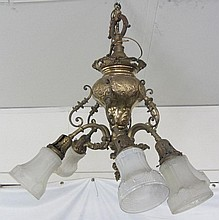 Rococo American bronze chandelier with 6 arms