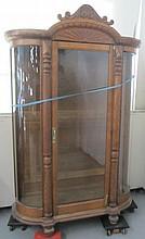 Large Quartersawn oak curve glass china cabinet