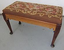 C1900 Queen Ann style needlepoint vanity stool