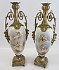 Pr. 19th C. Bronze mounted handpainted Sevres urns