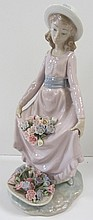 Signed Lladro of lady with flowers