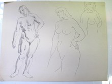 NUDE FIGURES INK & WATERCOLOR SKETCH