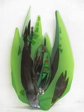 MIDCENTURY MODERN ART GREEN GLASS PLATTER
