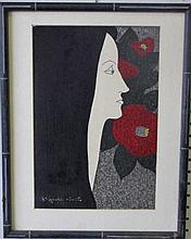 KIYOSHI SAITO - SIGNED LADY PAINTED PRINT