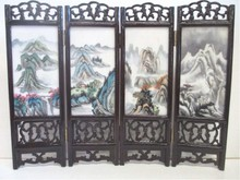 CHINESE SCENIC PORCELAIN TABLE SCREEN
