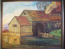 A finely and beautiful oil painting depicts an old farm with an old waterwheel and Mill