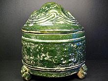 A beautiful Chinese HAN Dynsty(before 202-220 )apple green glazed and Decoratived Stove