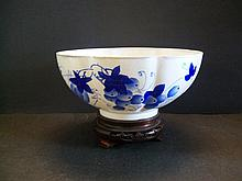 A Beautiful and Very Rare Blue Variegated Colour Porcelain  SANDUO Eggshell Octagonal  Bowl   W:18.3cm